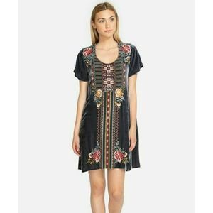 Johnny Was Cherelle Velvet Flutter Tunic Dress